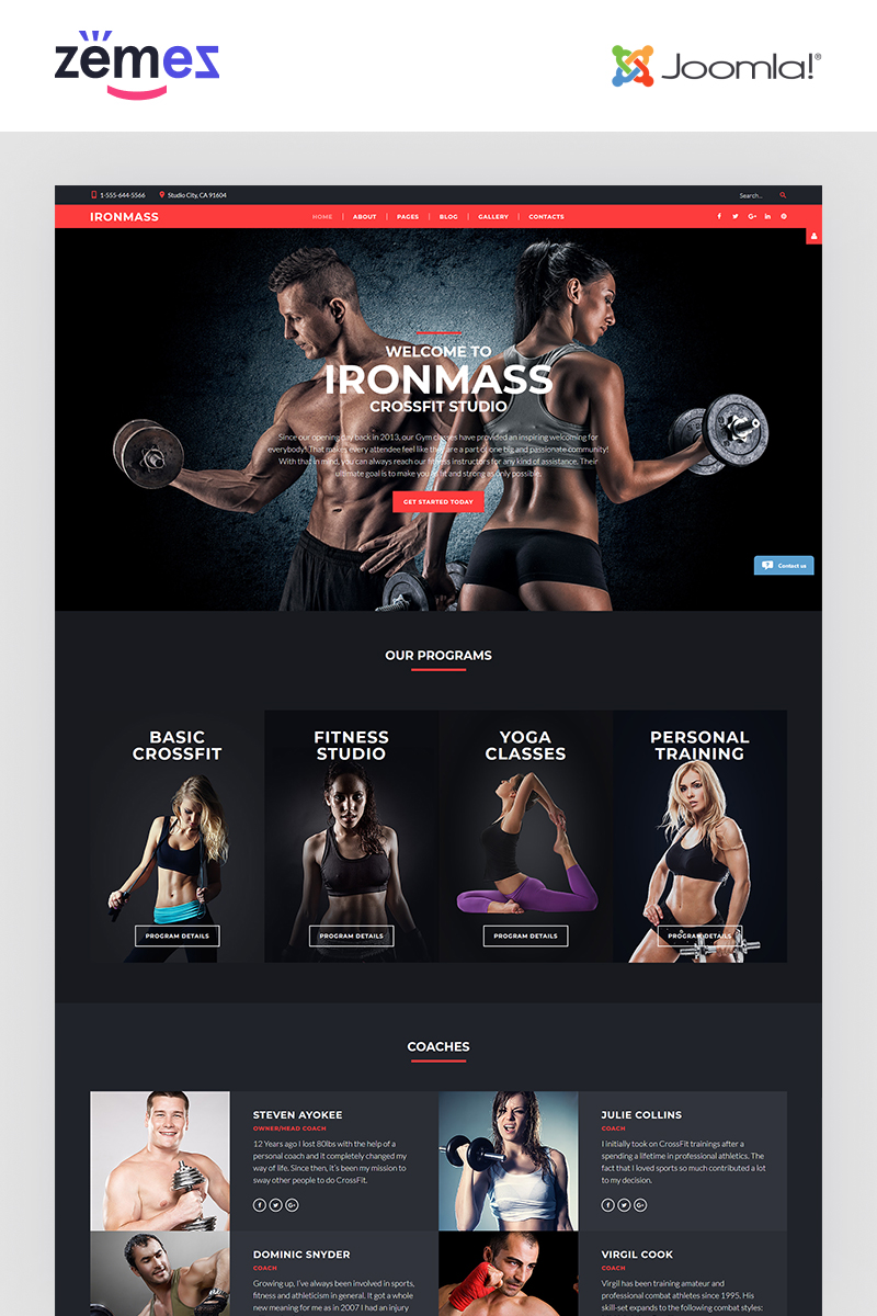 """IronMass - Fitness"" 响应式Joomla模板 #61198"