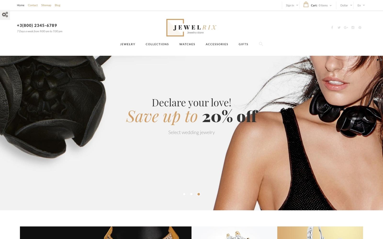 Jewelrix - шаблон PrestaShop для магазина украшений №61179