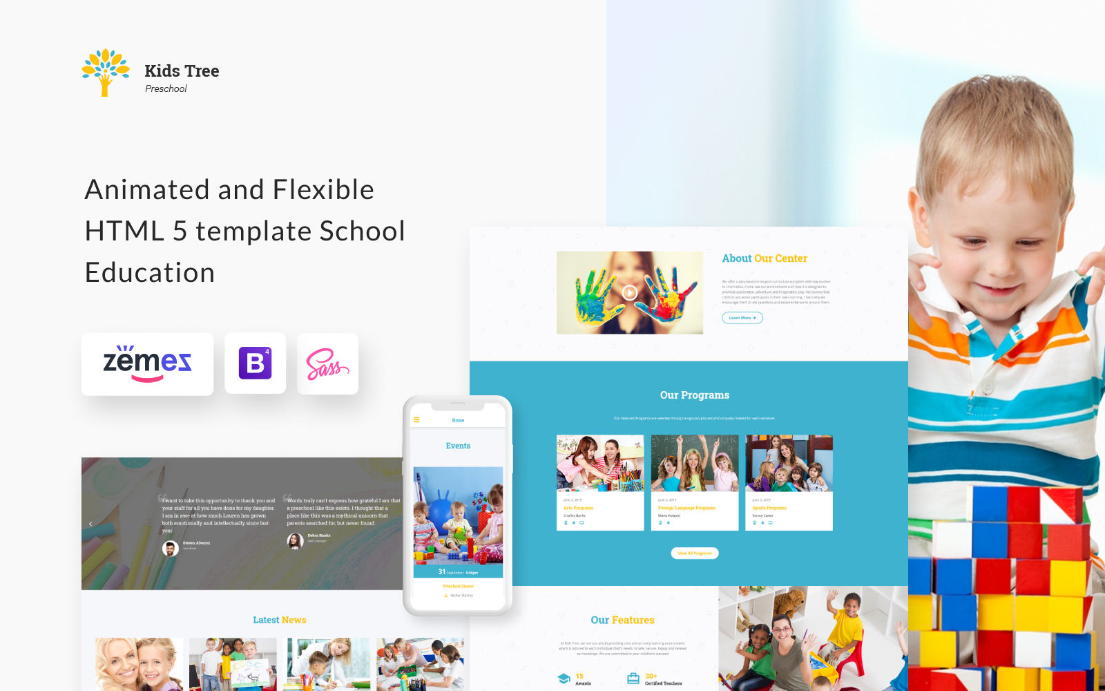 """Kids Tree - Elementary School Clean HTML Bootstrap"" - адаптивний Шаблон сайту №61183"