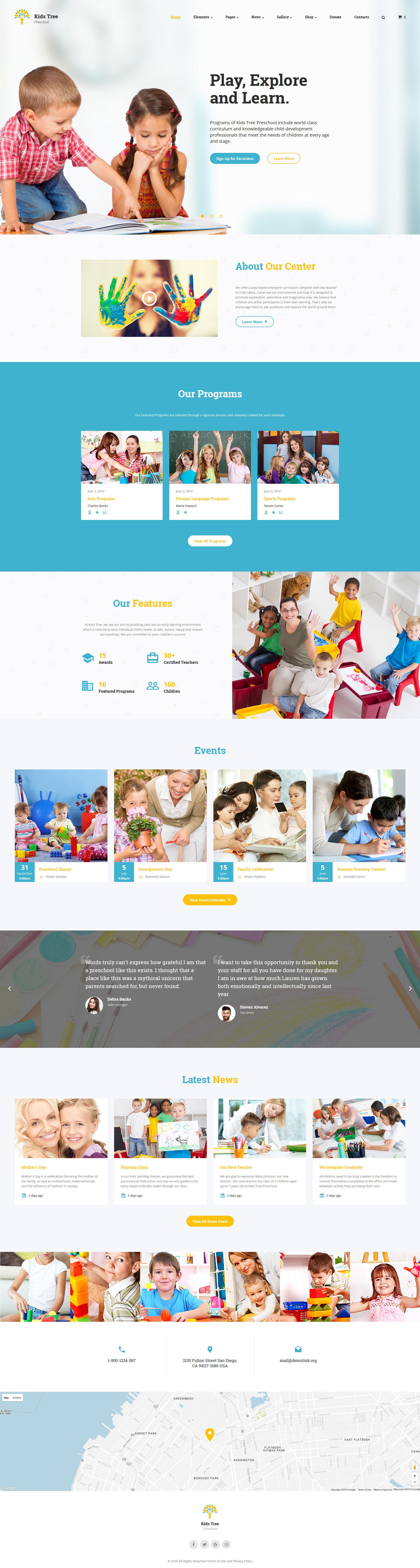 """Kids Tree - Elementary School Clean HTML Bootstrap"" - адаптивний Шаблон сайту №61183"