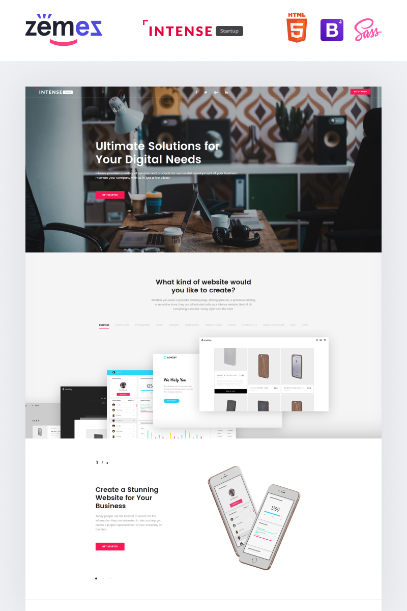 "Landing Page Template namens ""Intense Startup - Business Modern HTML"" #61142"