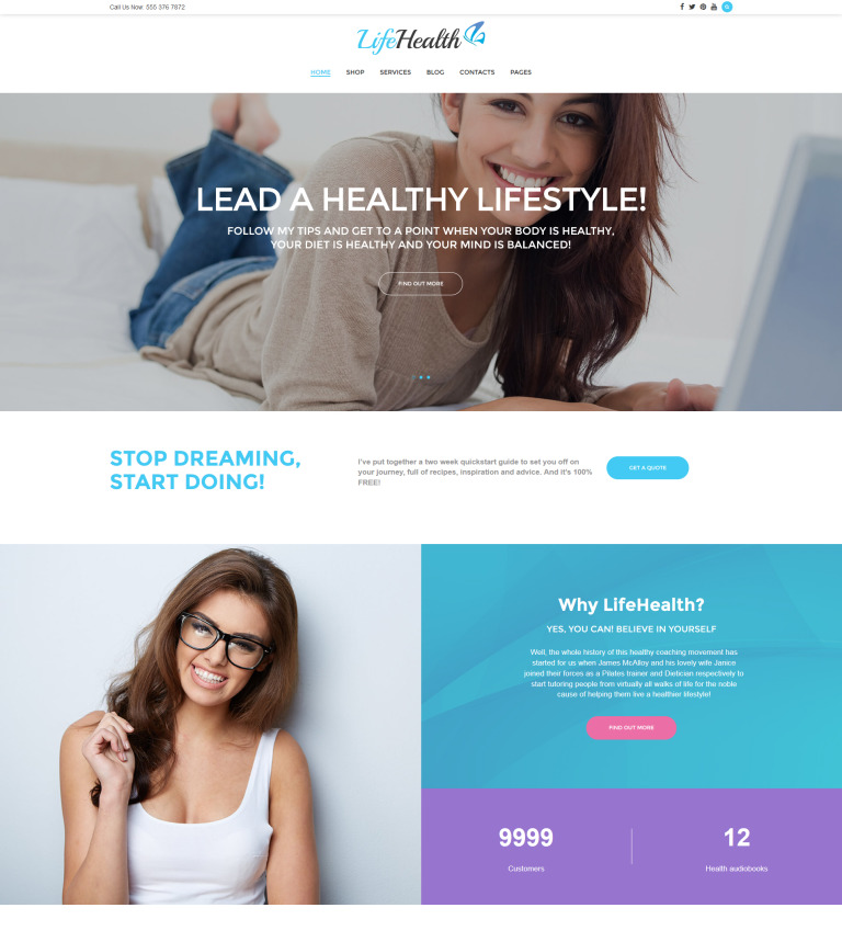 LifeHealth - Healthy Lifestyle Coach Responsive WordPress Theme