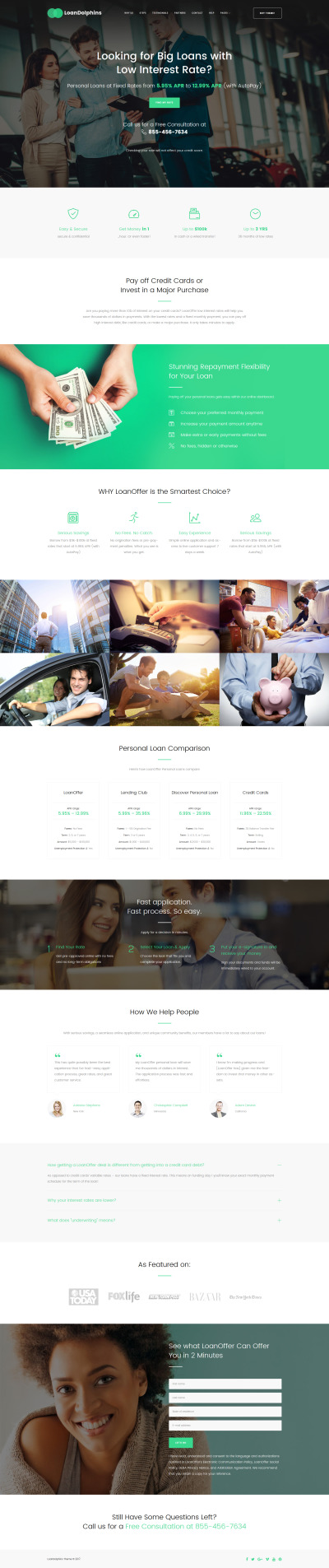 Loan Dolphins - Loan Company One Page WordPress Theme #61151