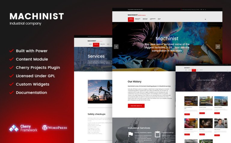 Machinist - Professional Industrial WordPress Theme New Screenshots BIG