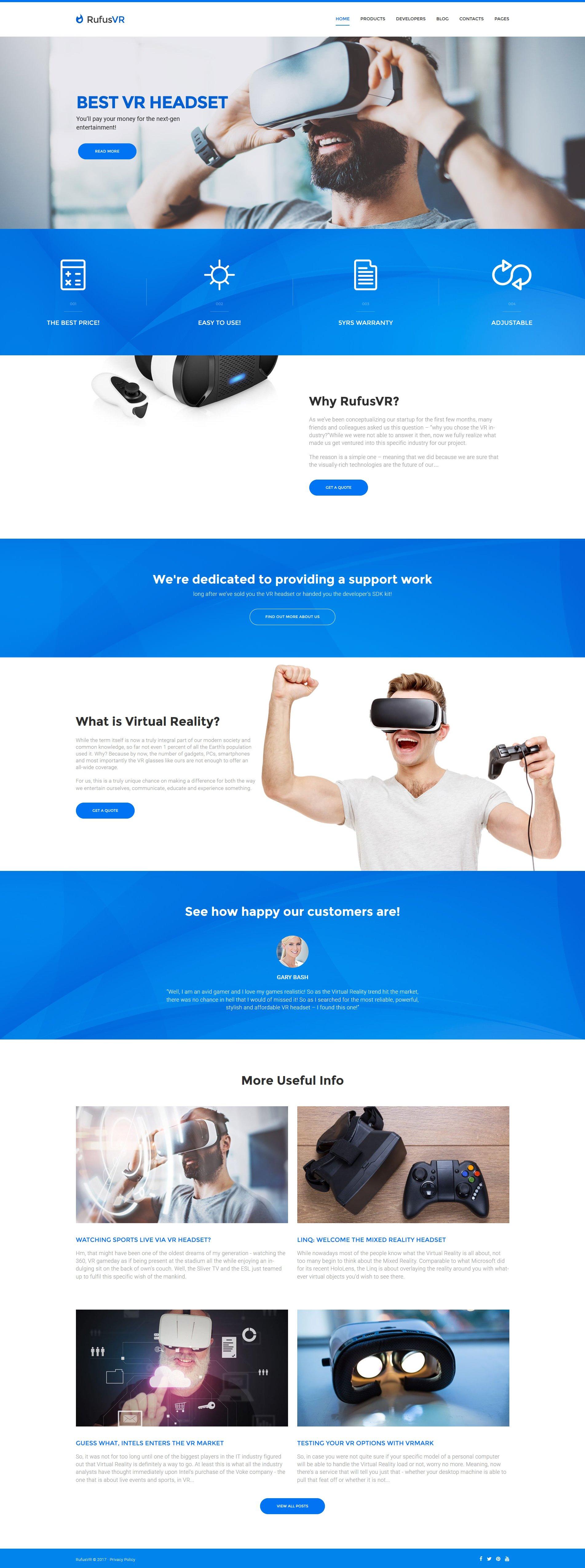 "Modello WordPress Responsive #61172 ""RufusVR - VR Startup Responsive"""