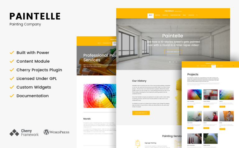 Paintelle - Painting Company WordPress Theme New Screenshots BIG