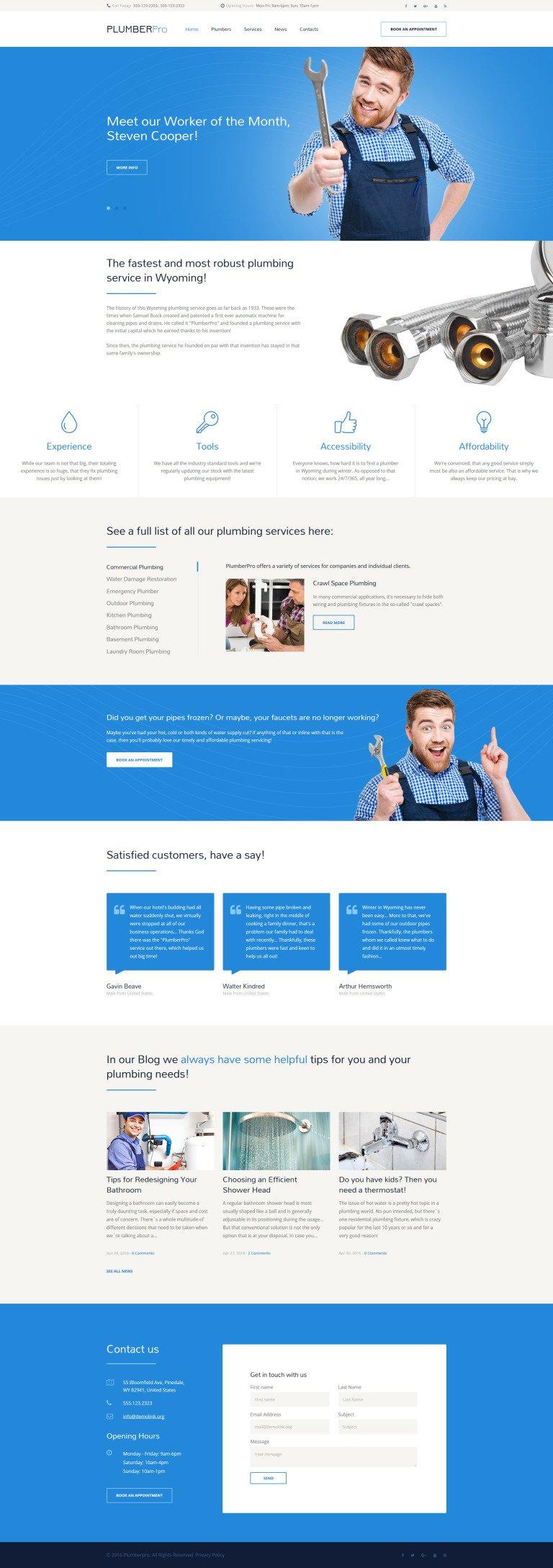 PlumberPro Website Template New Screenshots BIG