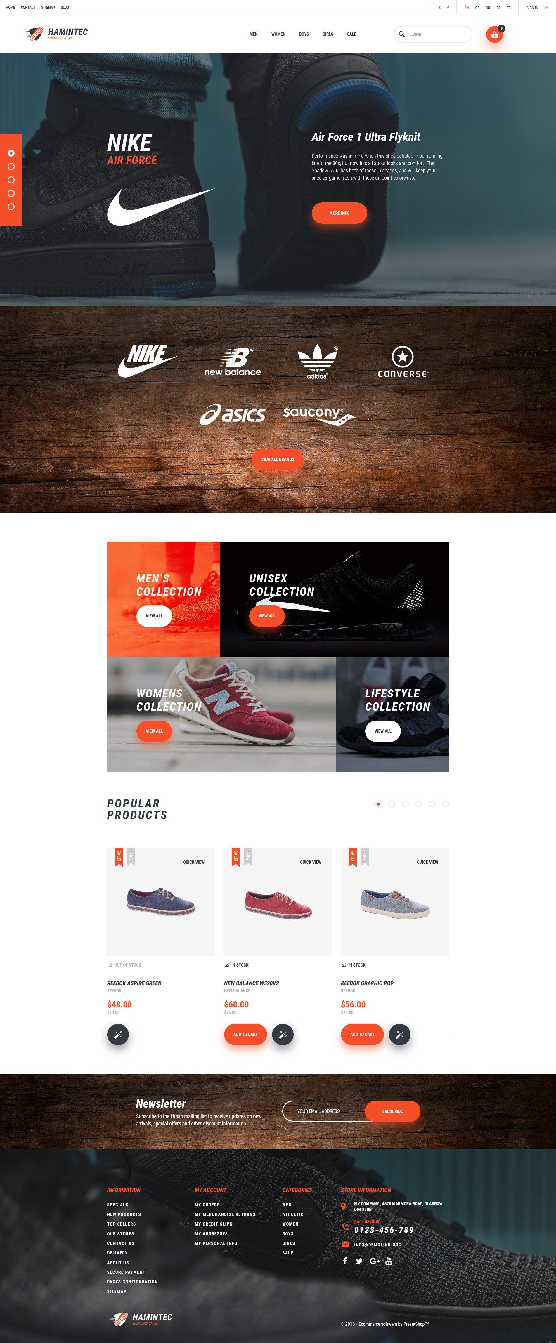 "PrestaShop Theme namens ""Hamintec - Sneakers Store"" #61157 - Screenshot"