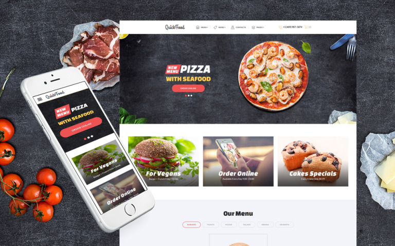 Quick Food - Fast Food Restaurant Responsive Multipage Website Template Big Screenshot