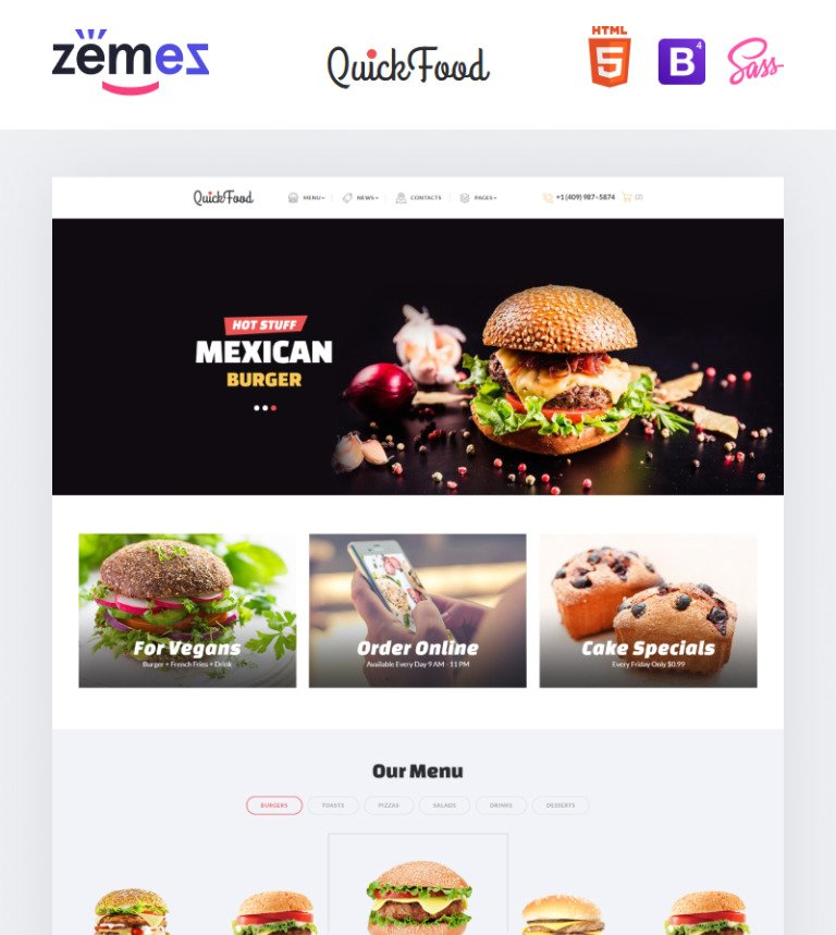 Fast food restaurant web template quick food fast food restaurant responsive multipage website template big screenshot pronofoot35fo Choice Image