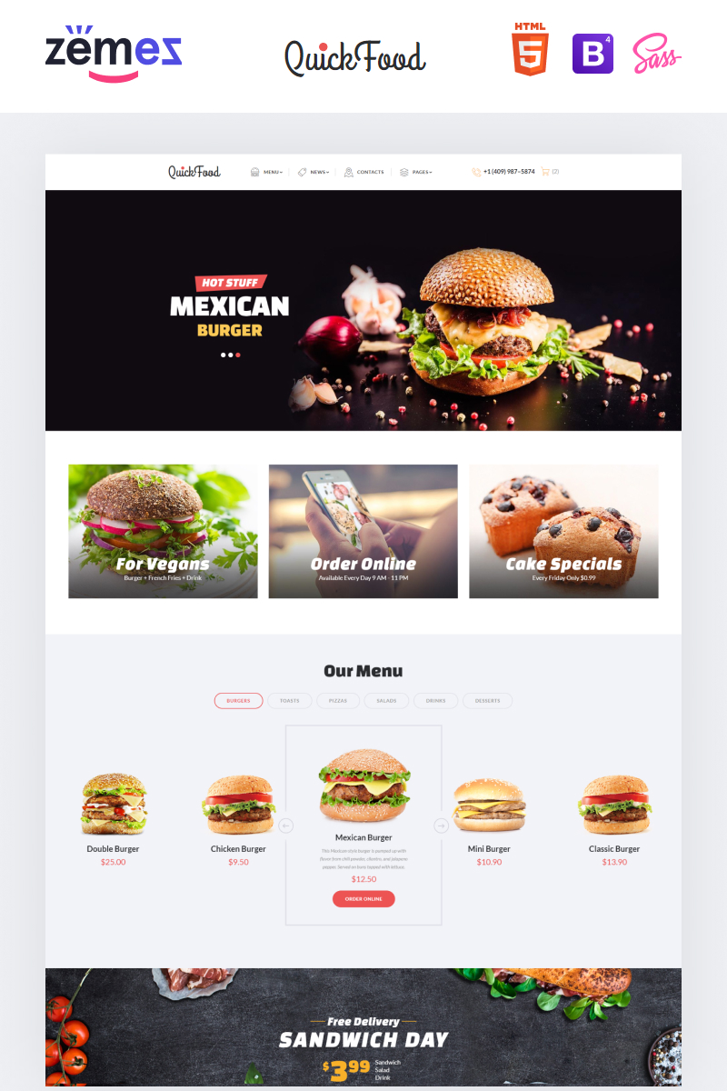 """Quick Food - Fast Food Restaurant Responsive Multipage"" 响应式网页模板 #61177"