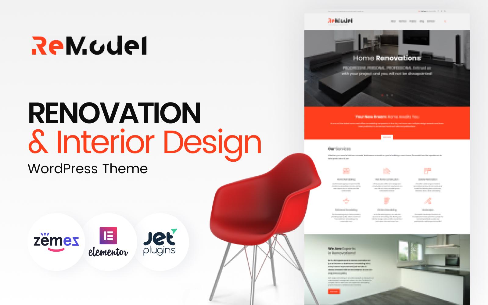 """""""Remodel - Rénovation & Design d'Intérieur"""" thème WordPress adaptatif #61171"""