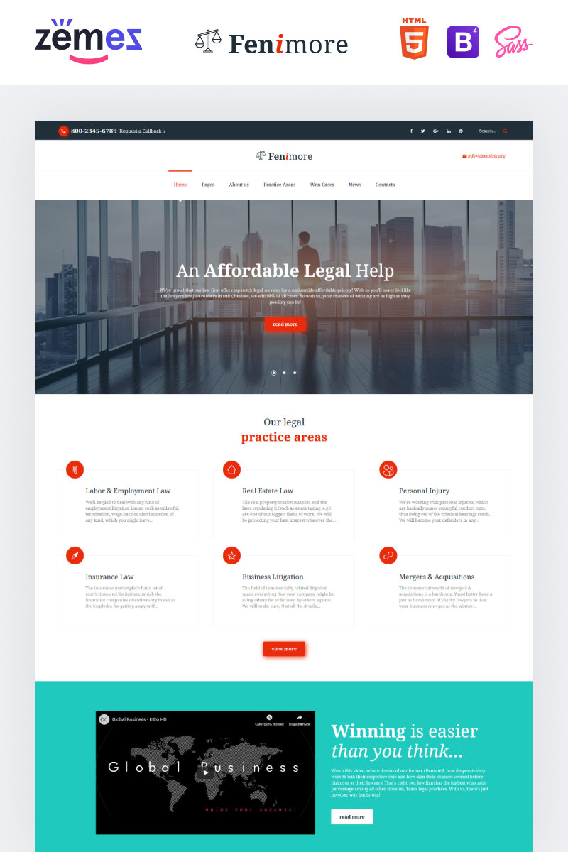 Responsive Website Vorlage für Anwaltskanzlei #61176