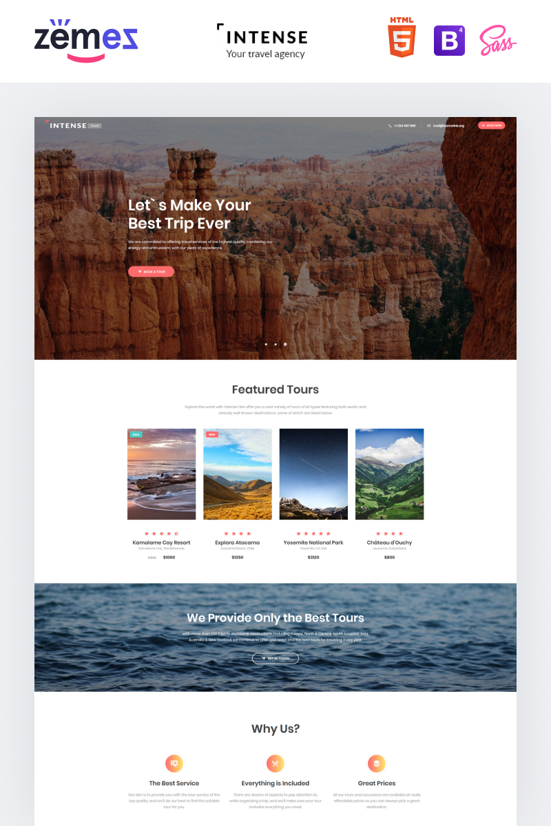 Responsivt Intense Travel Agency Landing Page-mall #61143