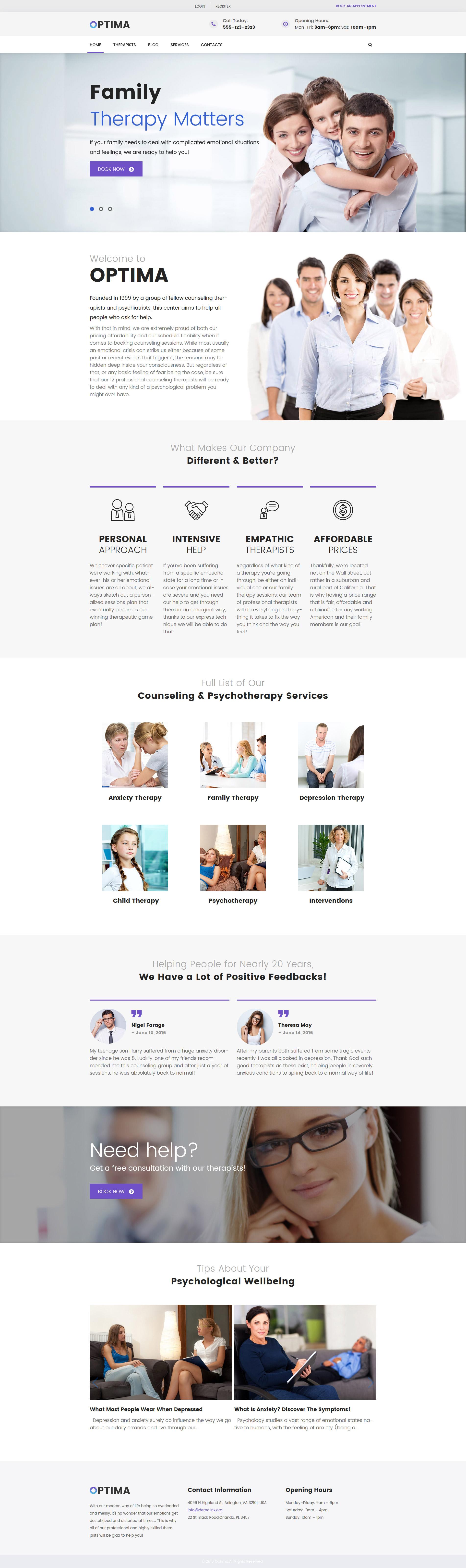 Responsivt Optima - Family Therapy WordPress-tema #61121
