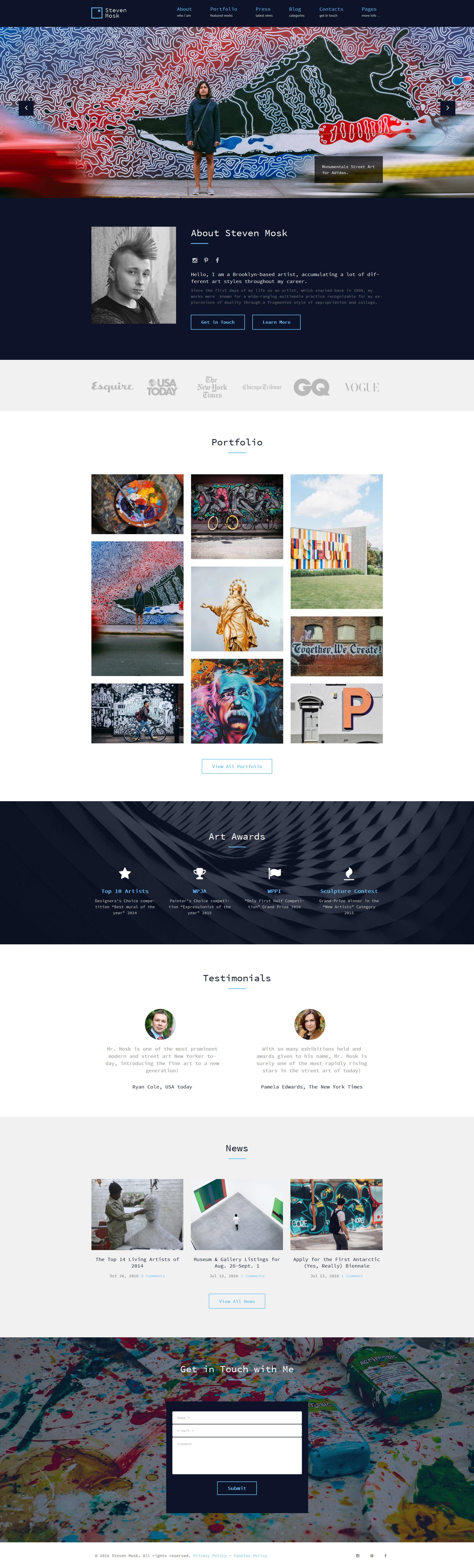 Responsivt Steven Mosk - Modern artist personal portfolio WordPress-tema #61116