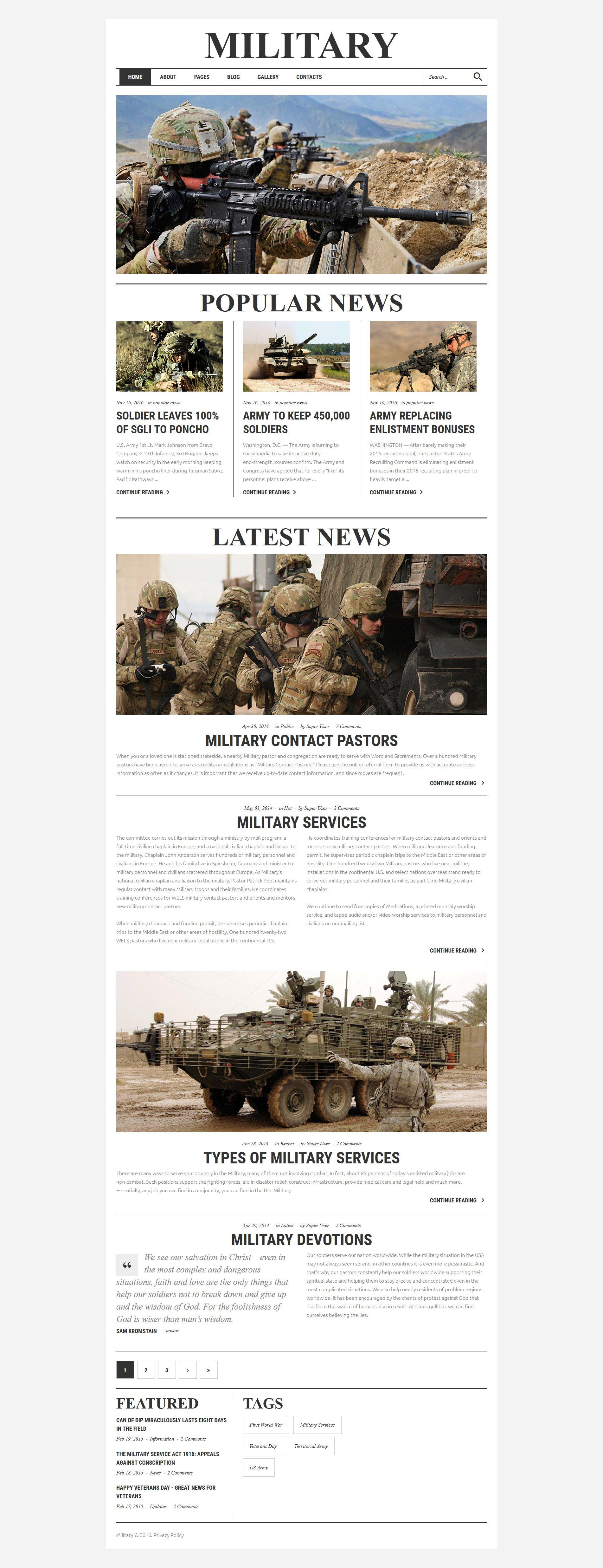 Responsywny szablon Joomla #61136 na temat: militaria