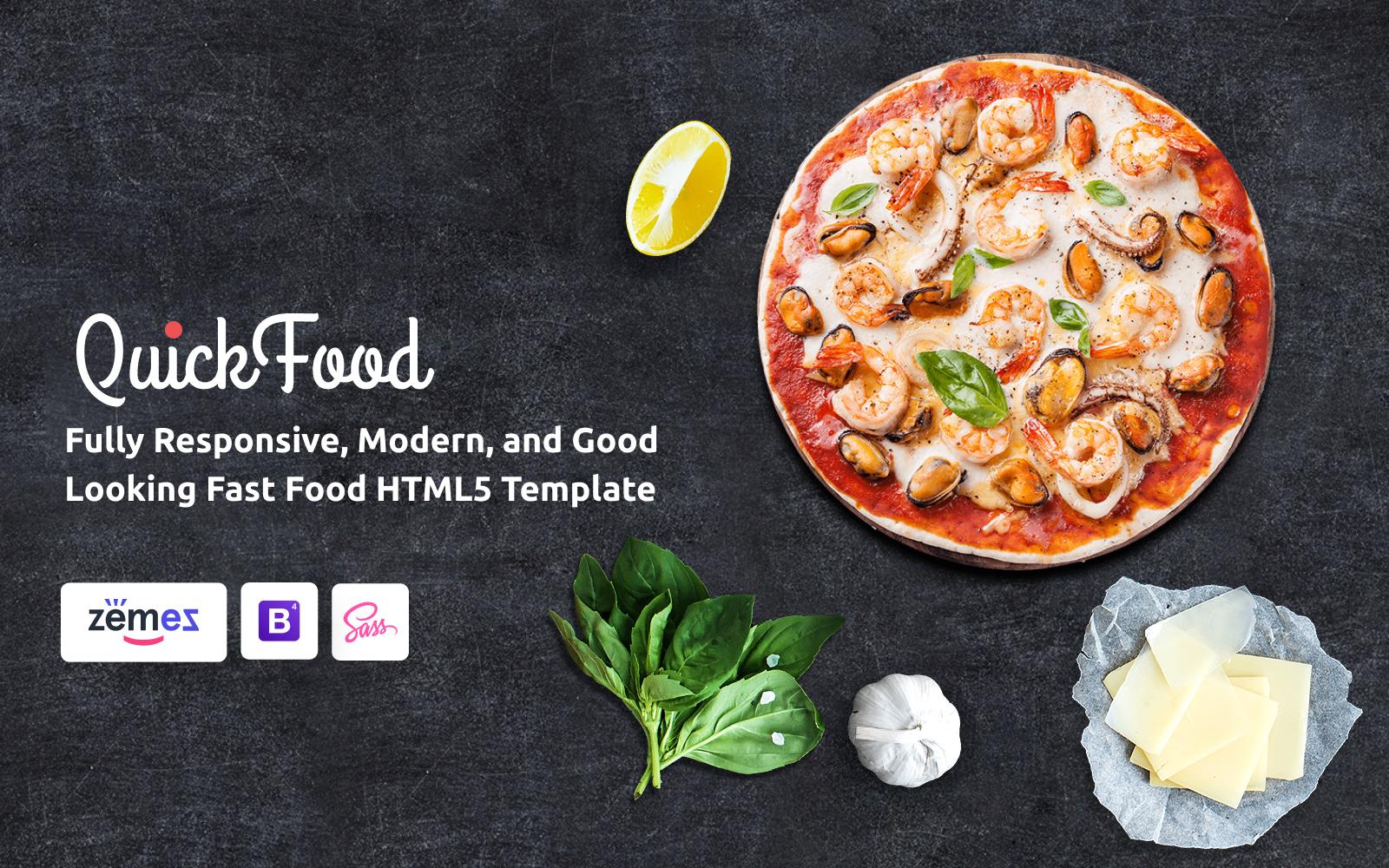 """Responzivní Šablona webových stránek """"Quick Food - Fast Food Restaurant Responsive Multipage"""" #61177"""