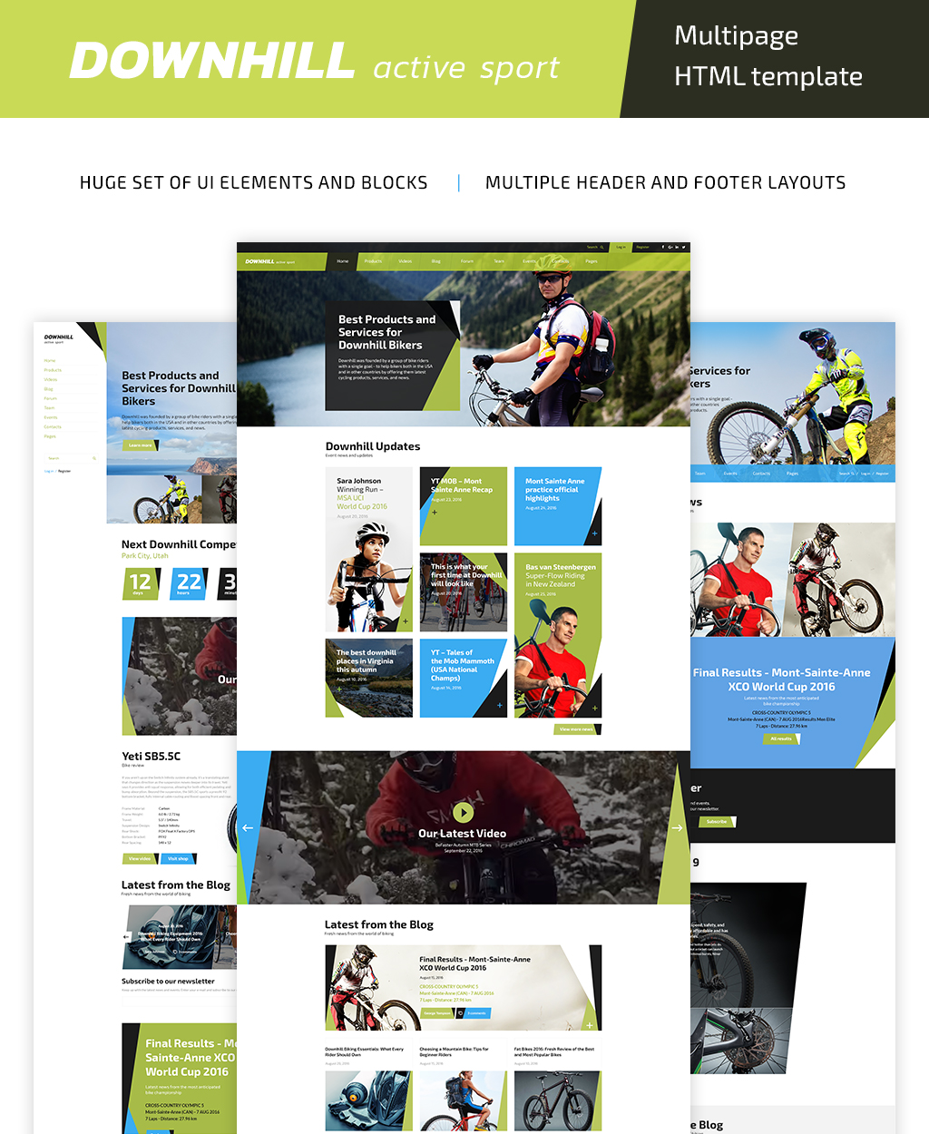 Reszponzív DownHill - Active Sport Multipage HTML5 Weboldal sablon 61140