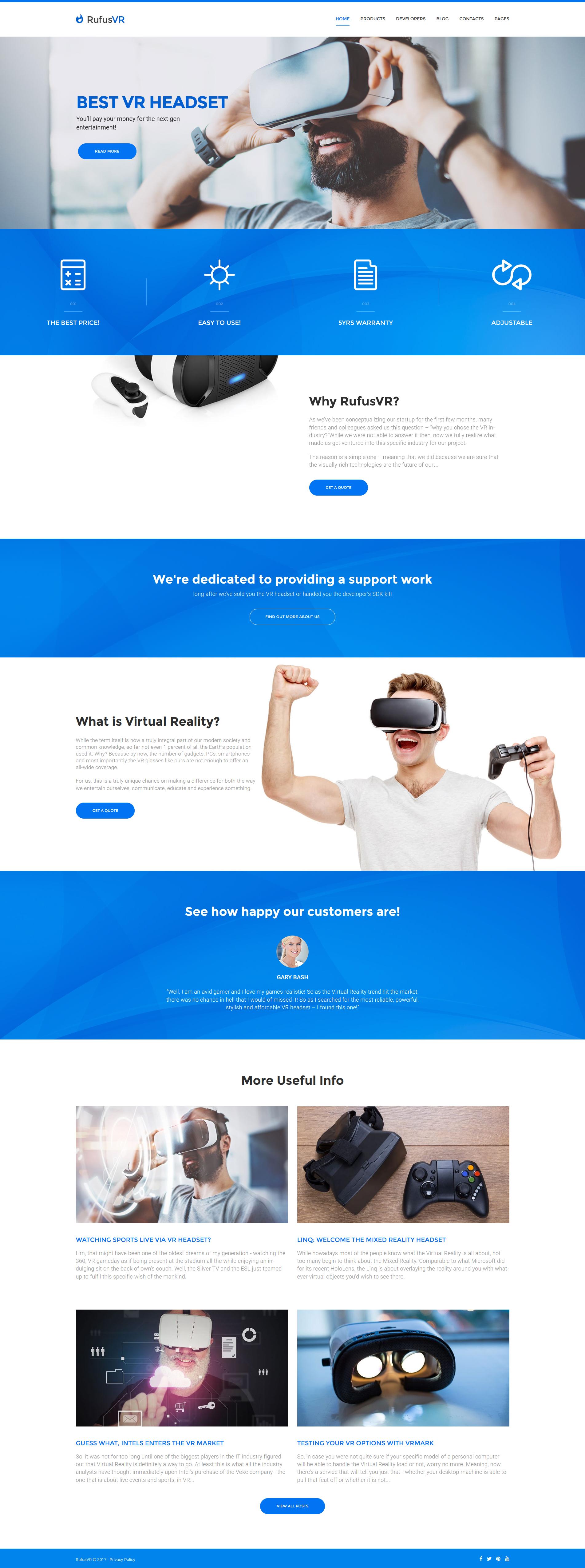 """RufusVR - Start-Up VR"" thème WordPress adaptatif #61172"