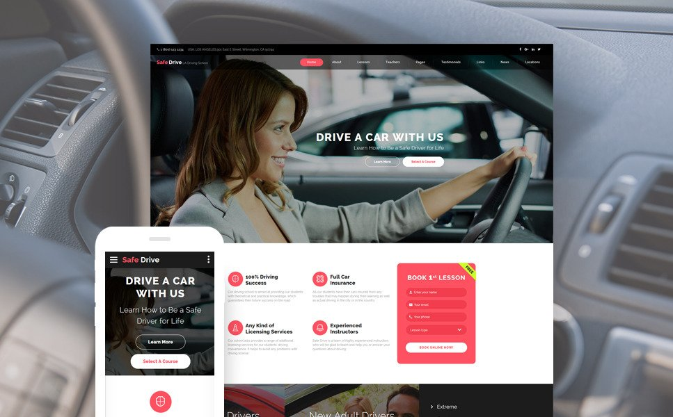 Safe Drive - Traffic School & Driving Lessons Website Template New Screenshots BIG
