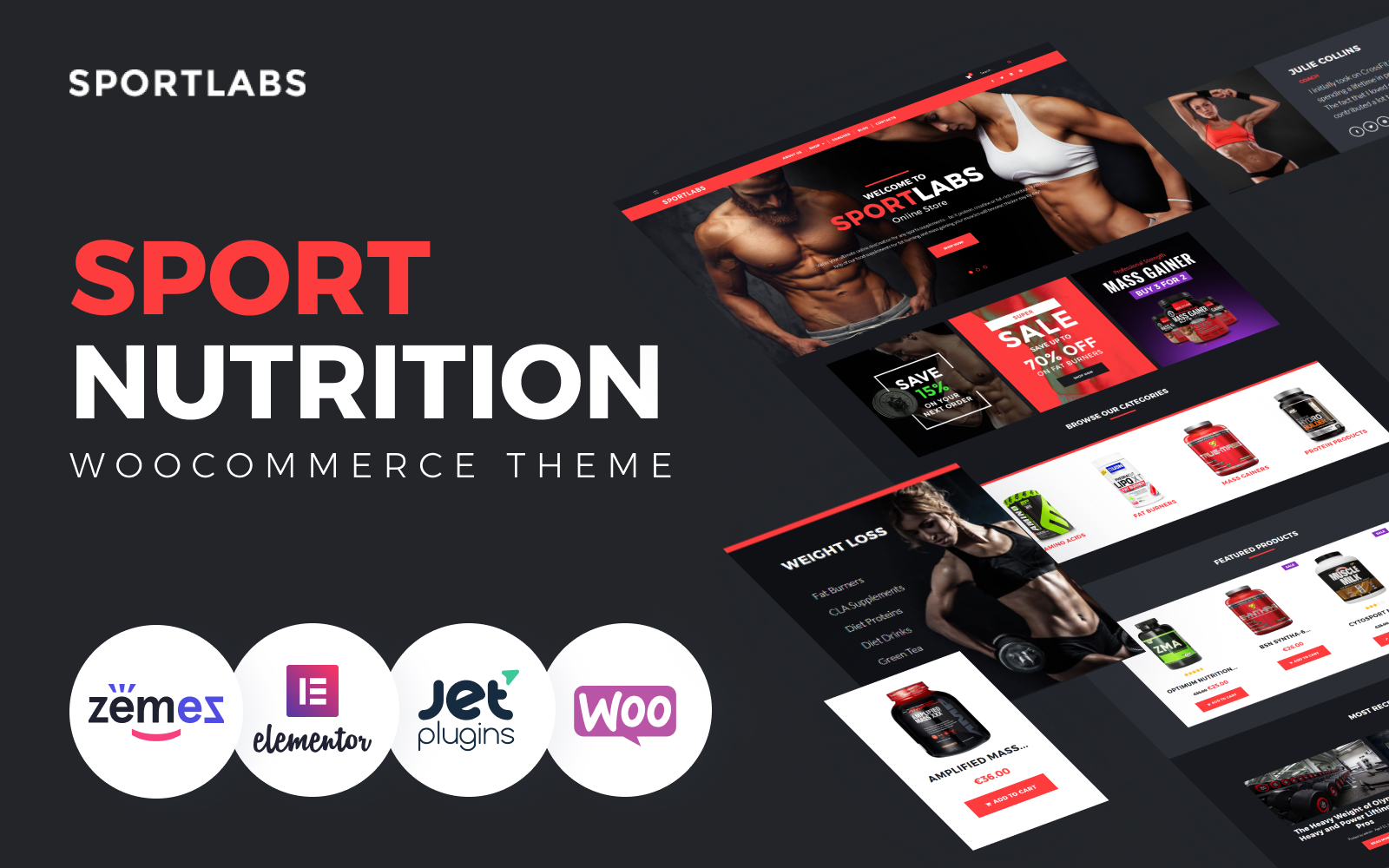 """SportLabs - Sport Nutrition"" Responsive WooCommerce Thema №61158"