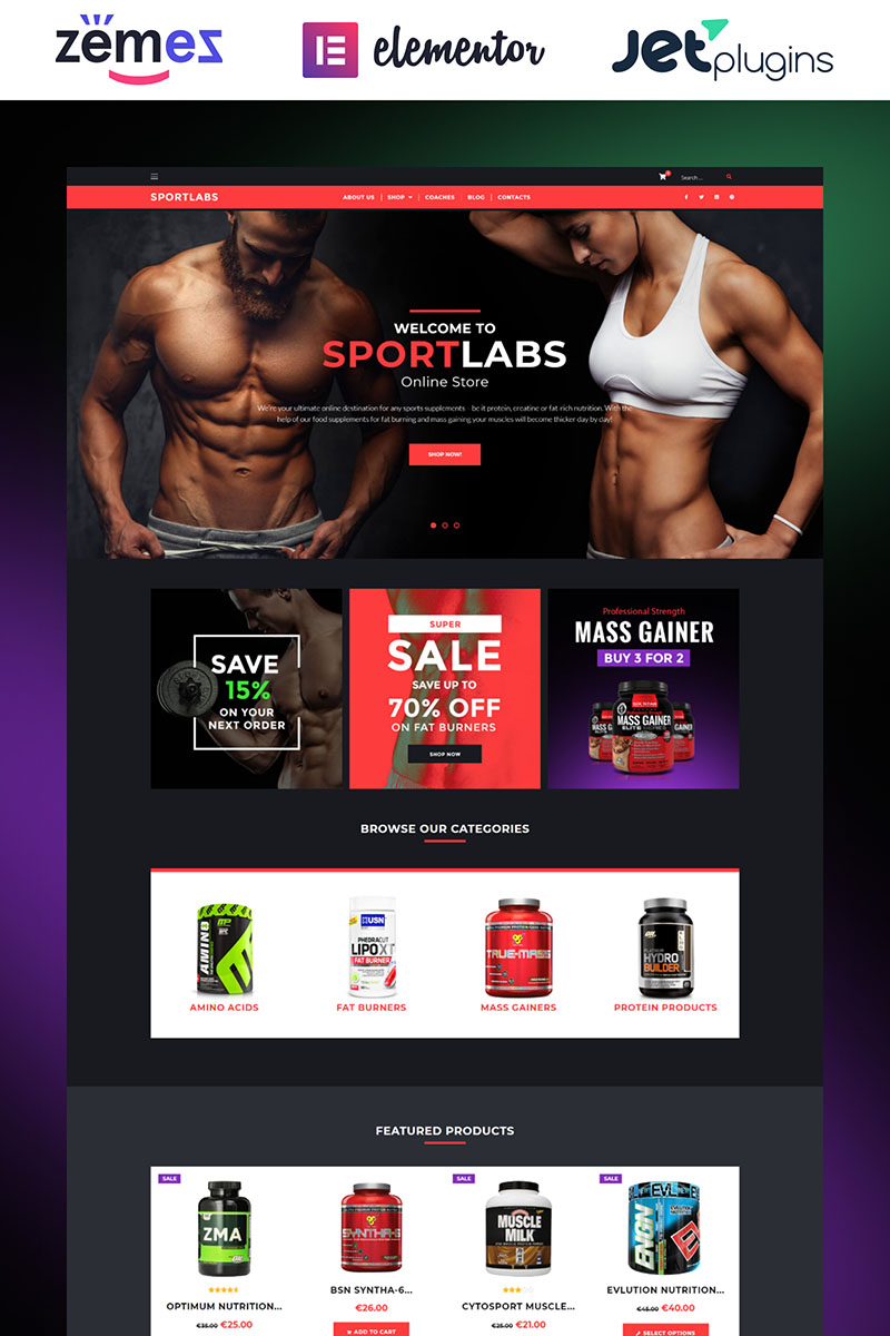 """""""SportLabs - Sport Nutrition"""" Responsive WooCommerce Thema №61158"""