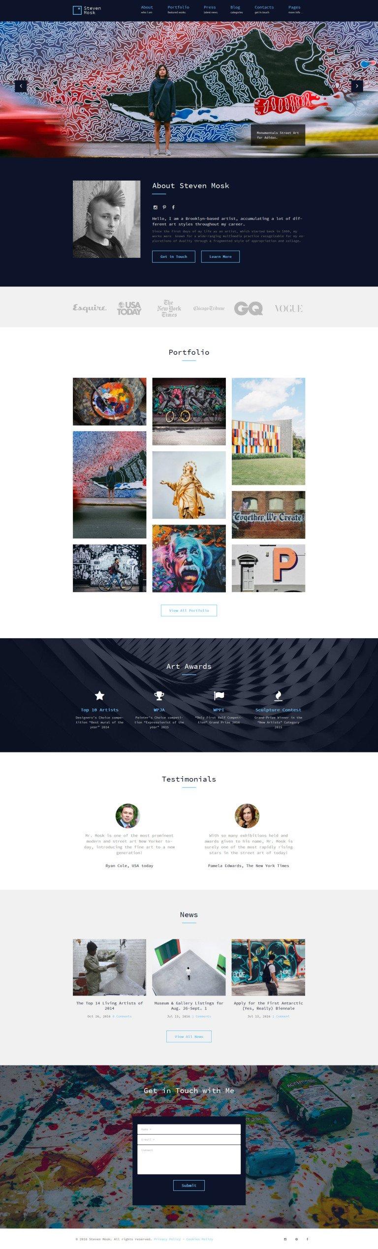 Steven Mosk - Modern artist personal portfolio WordPress Theme New Screenshots BIG