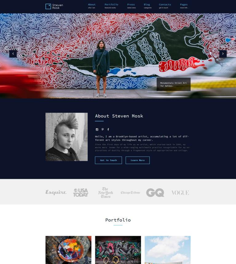 Tema de WordPress #61116 para Sitio de Portafolios de artistas