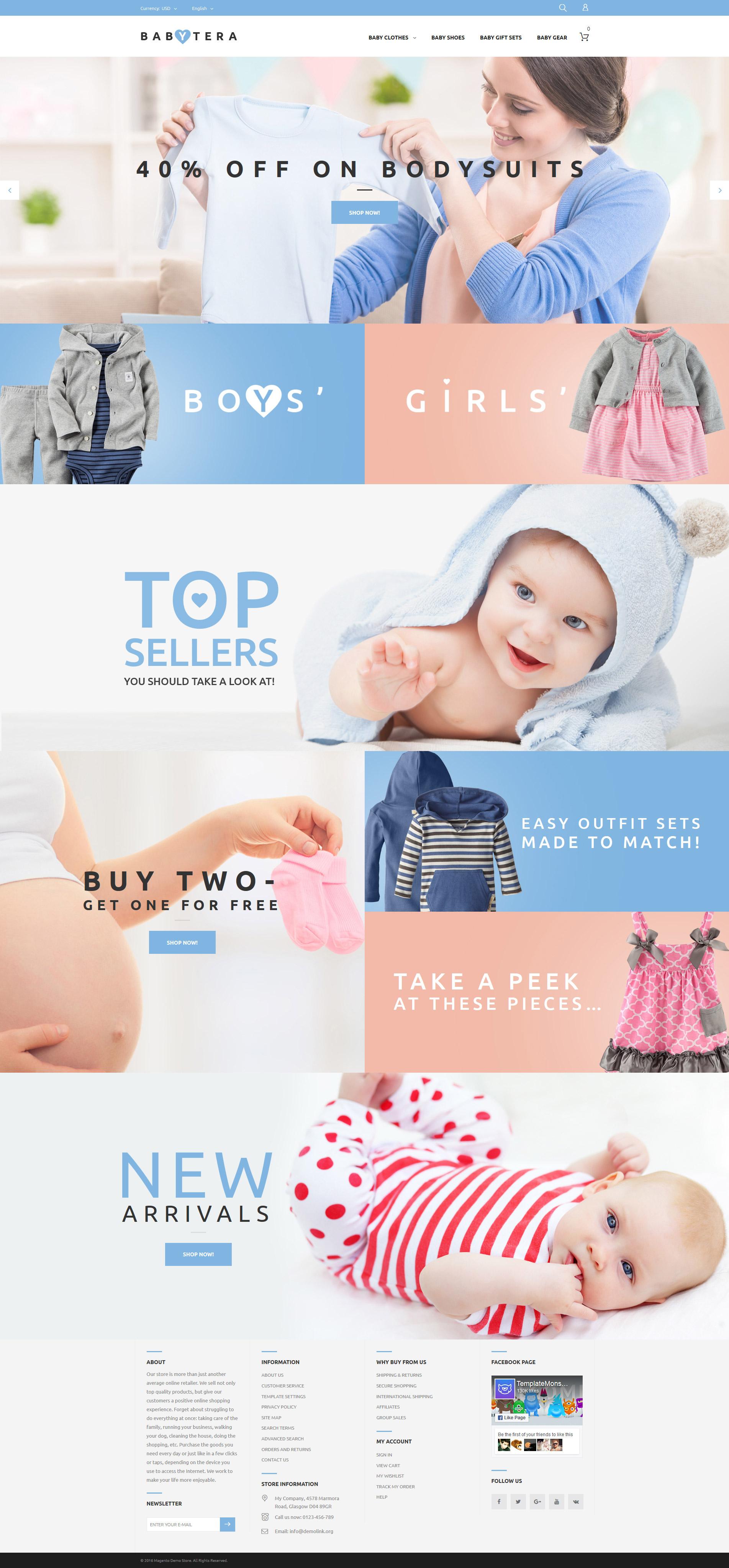 "Tema Magento ""Babytera - Baby Store"" #61191"