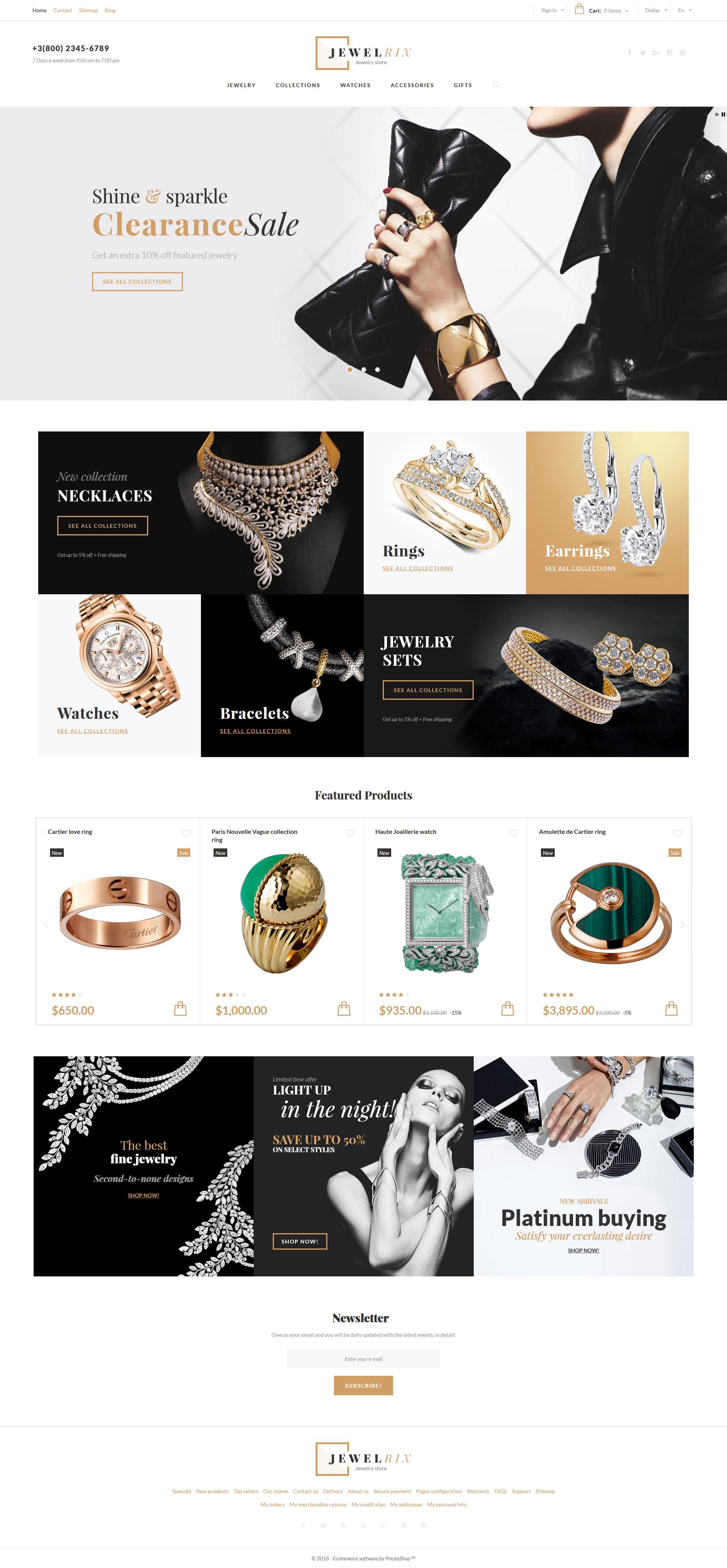 """Tema PrestaShop Responsive #61179 """"Jewelrix - Negozio di gioielli"""""""