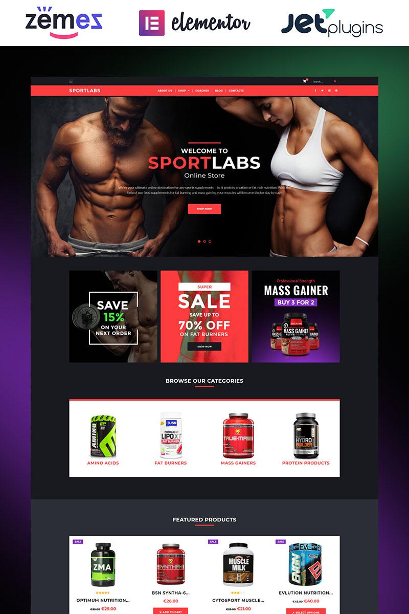 "Tema WooCommerce Responsive #61158 ""SportLabs - Sport Nutrition"""