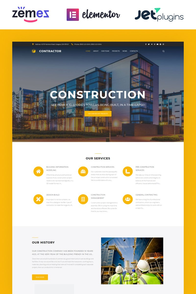 "Tema WordPress Responsive #61152 ""Contractor - Architecture & Construction Company Elementor"""