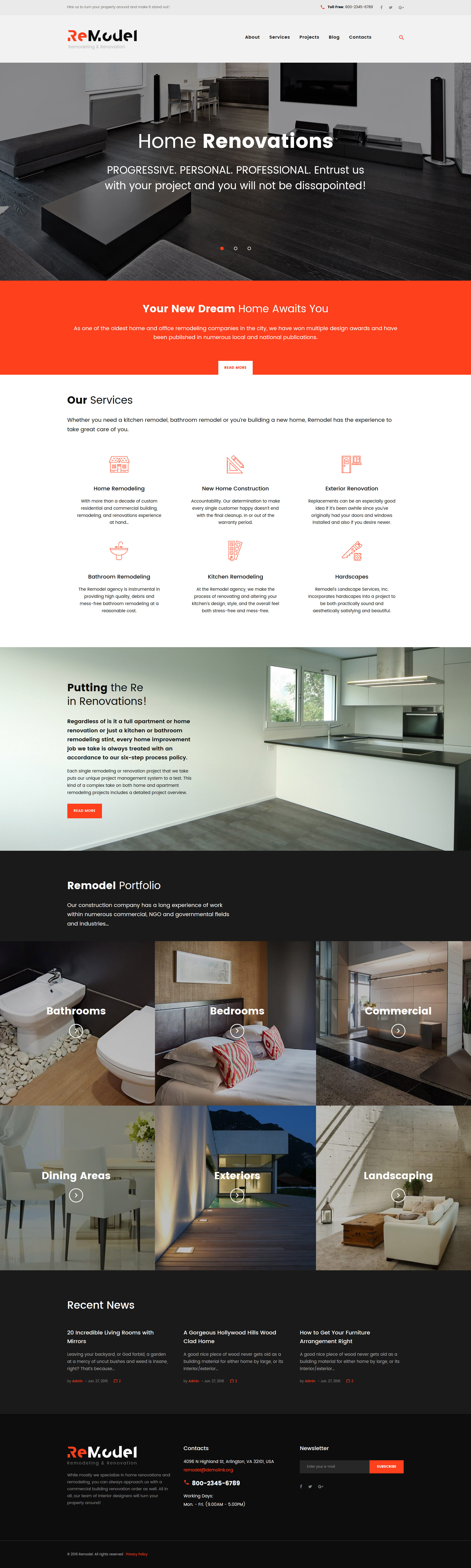 Шаблон Remodel сайта на тему дизайн интерьера #61171