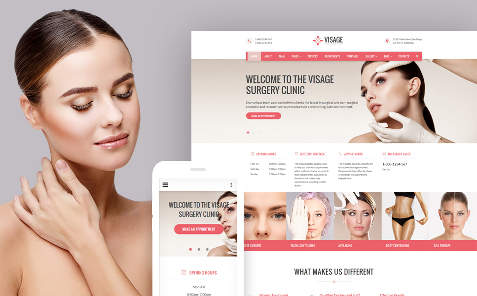 Visage - Plastic Surgery Clinic template illustration image