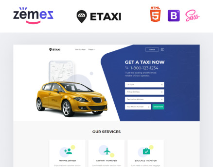 Etaxi - Taxi Service Multipage Classic HTML Website Template