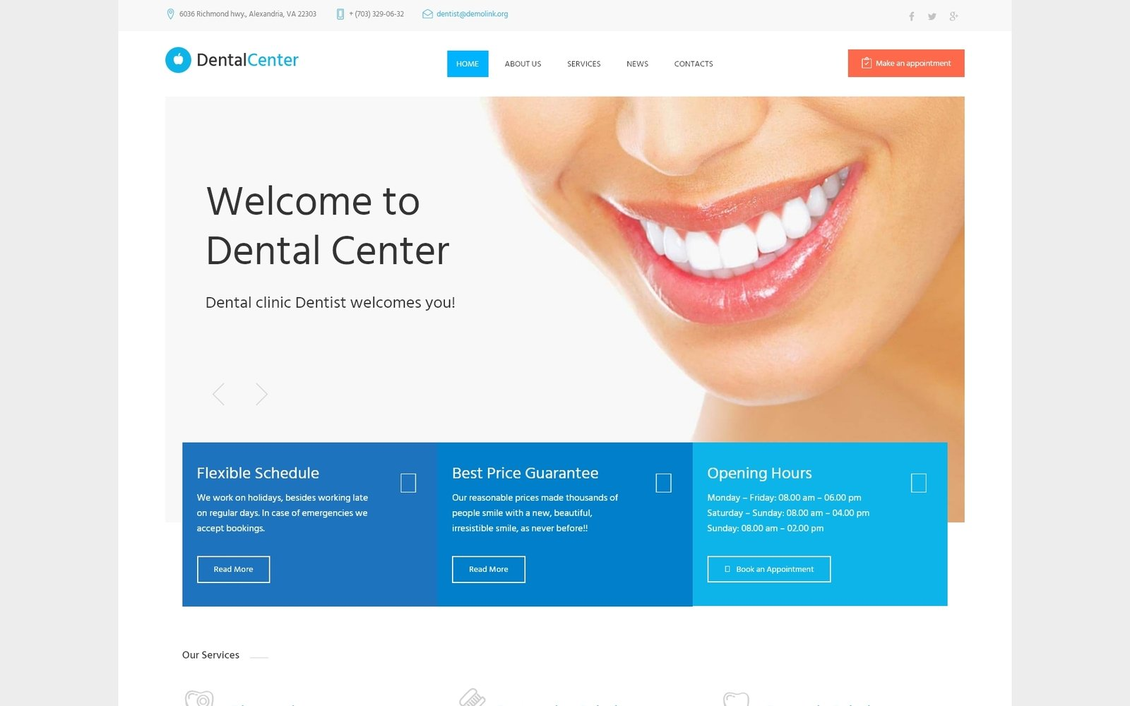 Адаптивный шаблон сайта на тему стоматология #61273