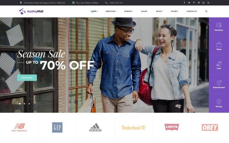 Audrey Mall - Shopping Center, Entertainment Store Website Template New Screenshots BIG