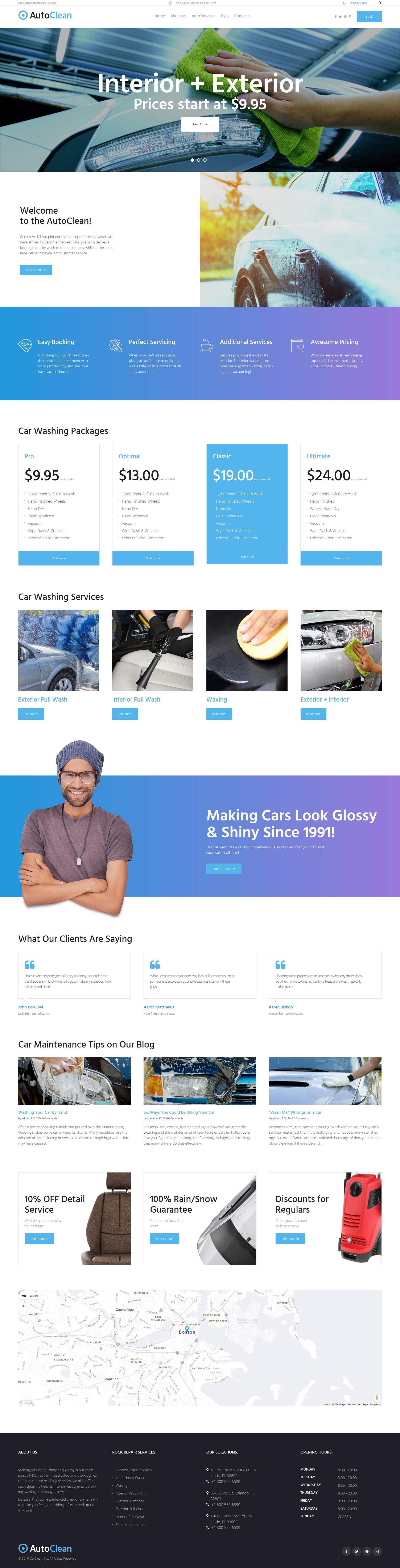 """""""AutoClean - Car Wash & Car Repair"""" 响应式WordPress模板 #61224"""