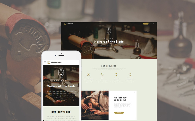 Barbershop - Hair Care & Hair Styling Website Template Big Screenshot
