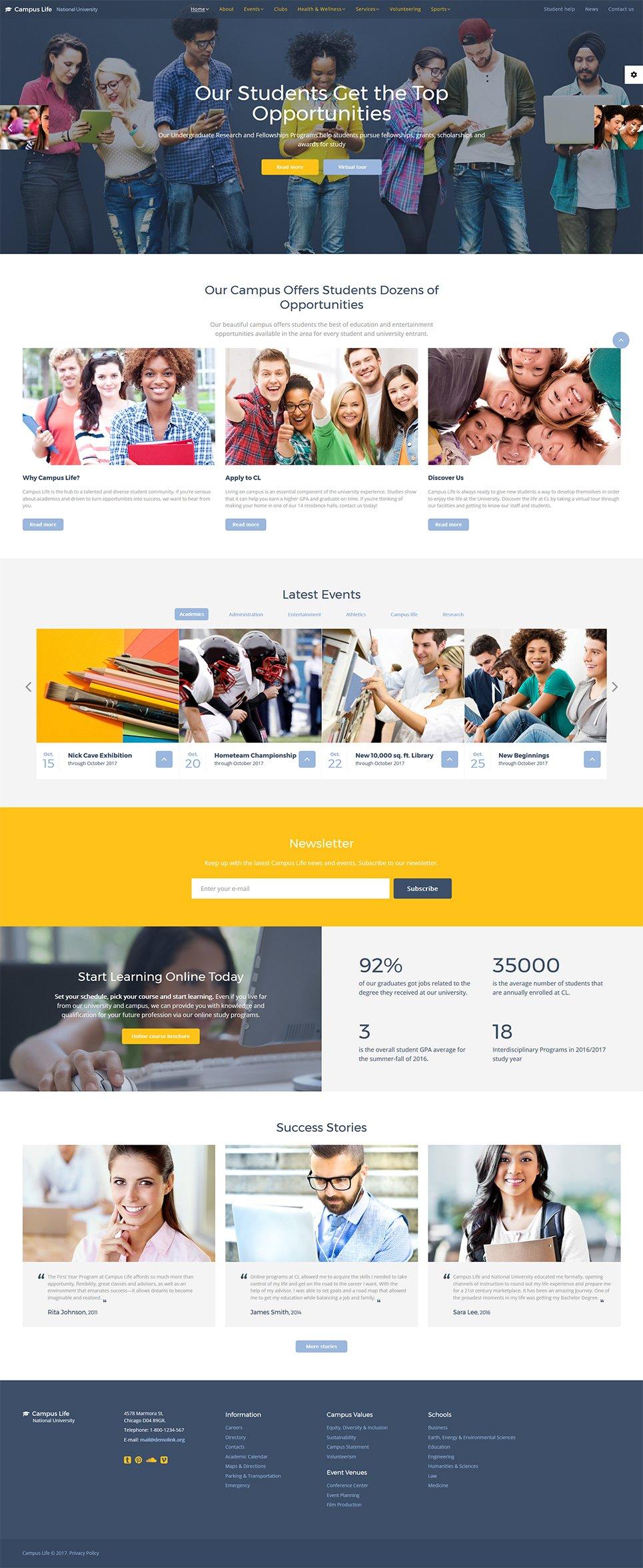 """Campus Life - National University Multipage"" modèle web adaptatif #61281"