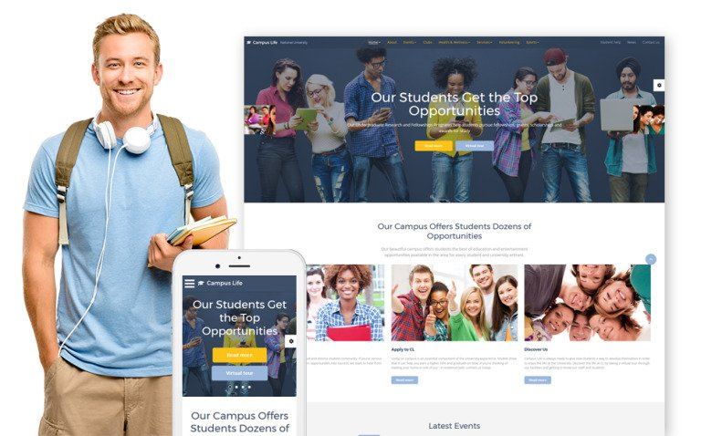 Campus Life - National University Multipage Website Template New Screenshots BIG