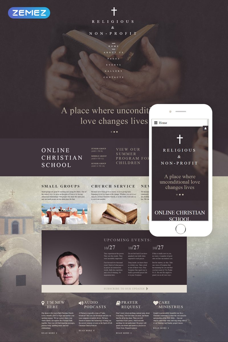 """Christian Church - Religious & Non-Profit"" - адаптивний Joomla шаблон №61261"