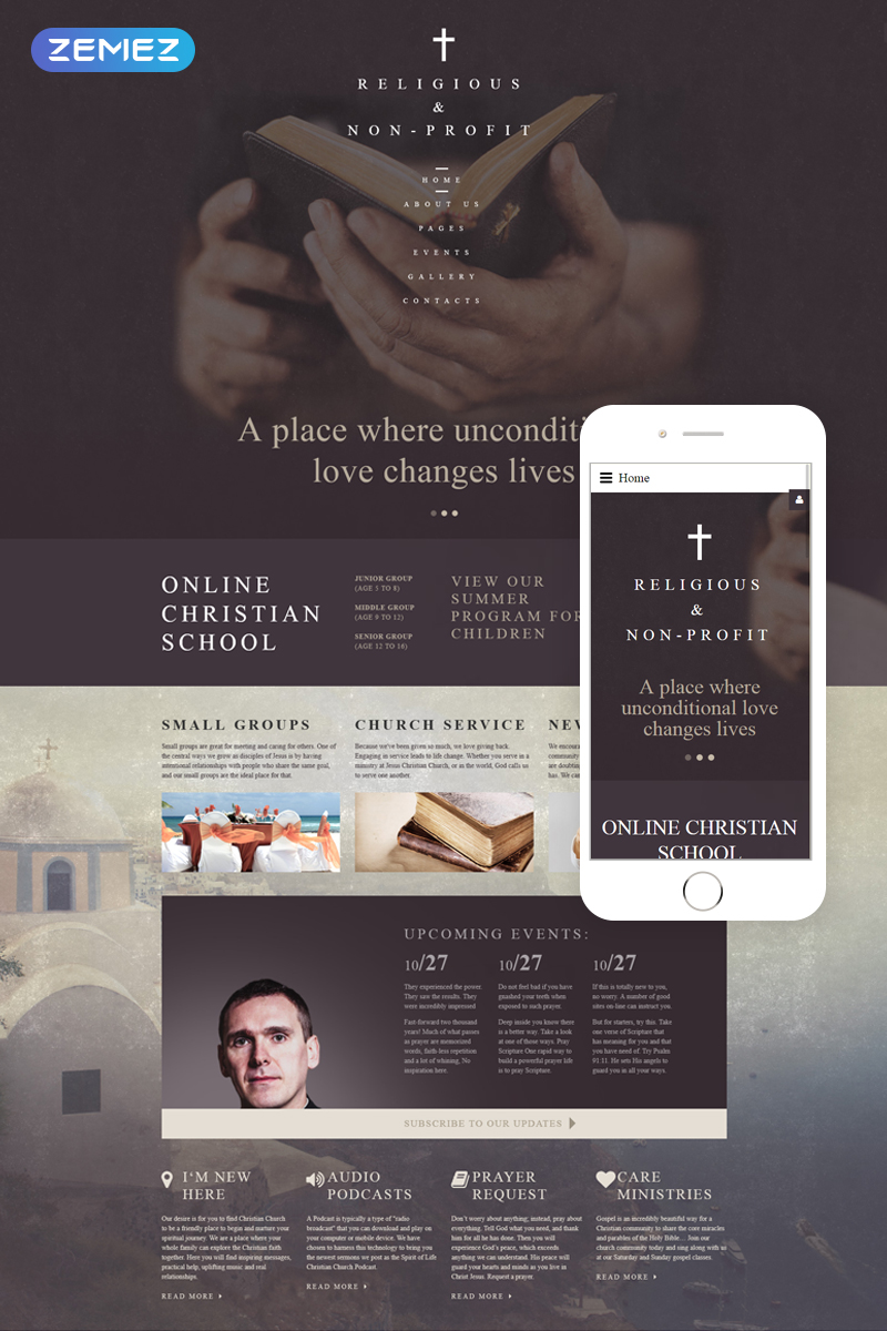 """Christian Church - Religious & Non-Profit"" Responsive Joomla Template №61261"