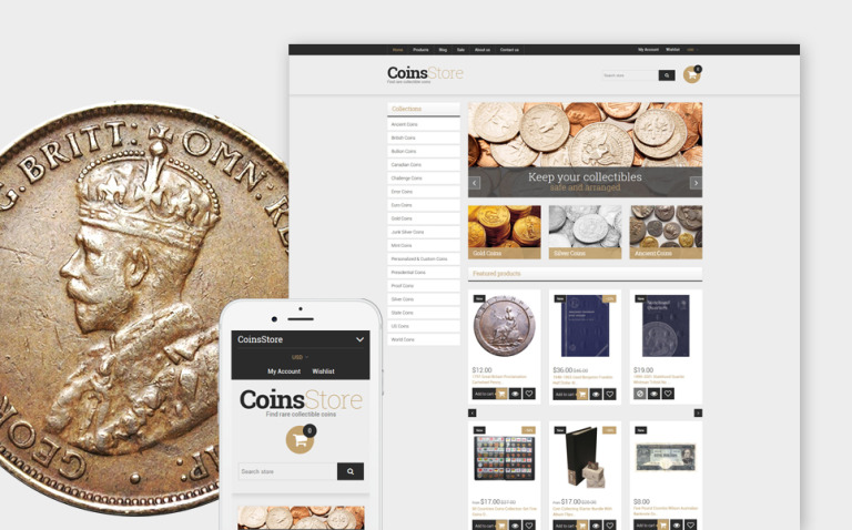 Collectible Coins & Supplies Shopify Theme New Screenshots BIG