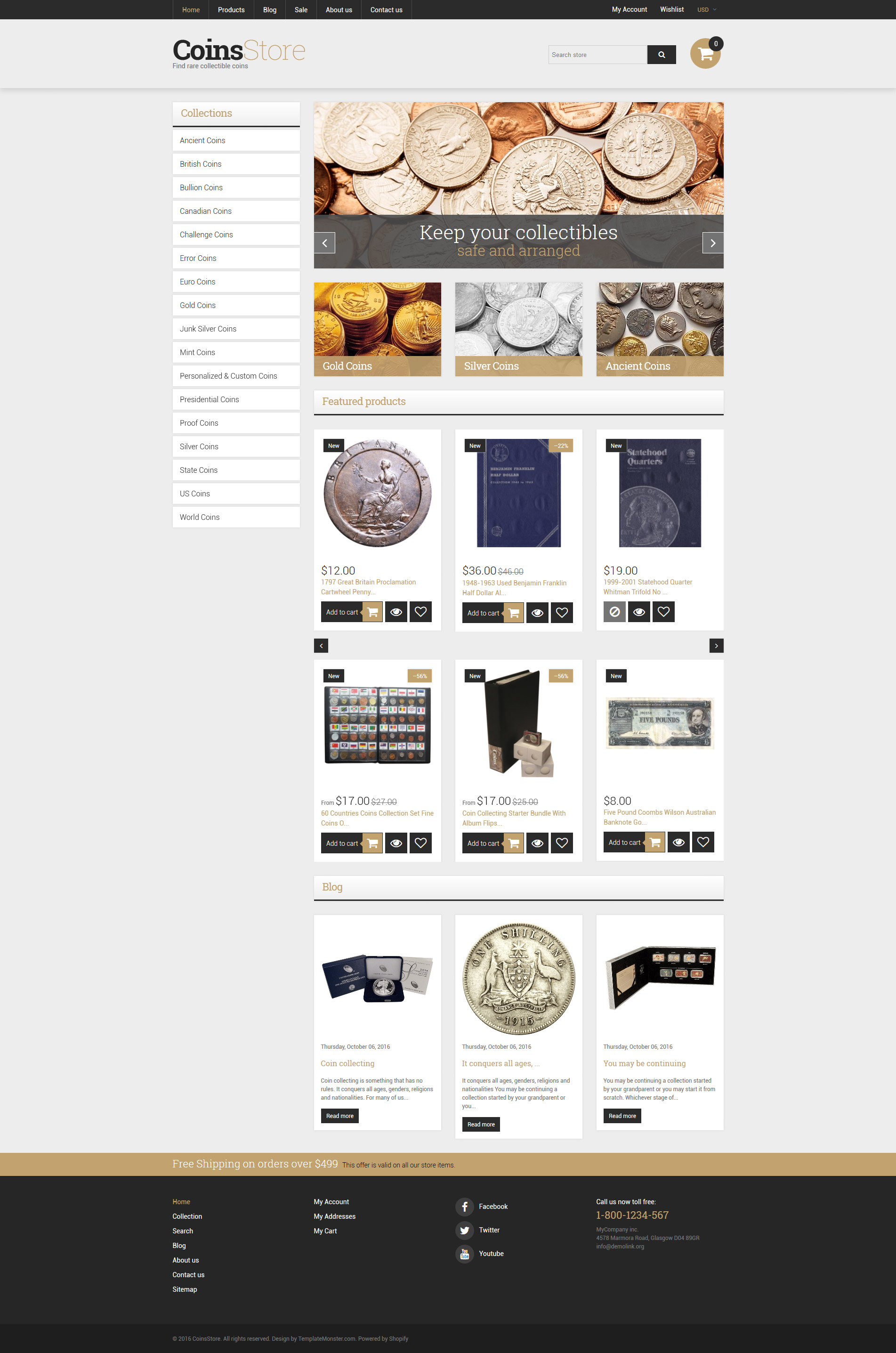"""Collectible Coins & Supplies"" 响应式Shopify模板 #61284"