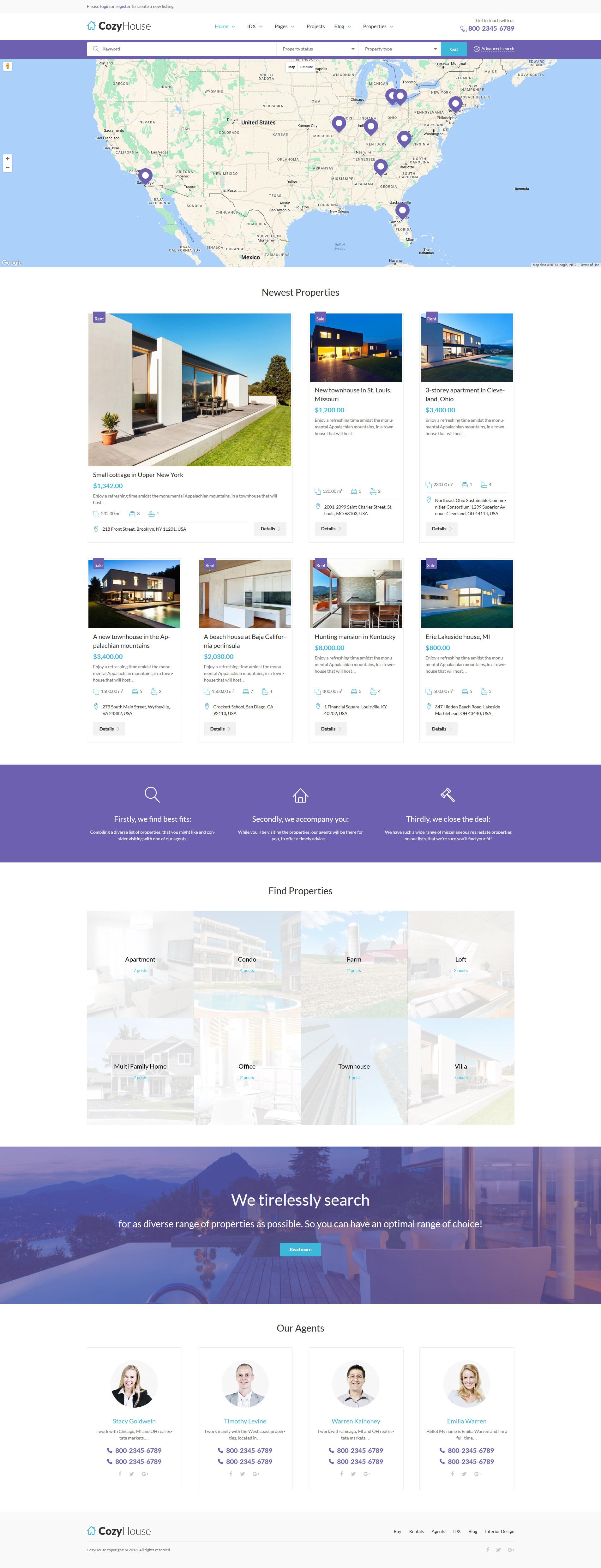 """CozyHouse - Real Estate Premium"" - адаптивний WordPress шаблон №61222 - скріншот"