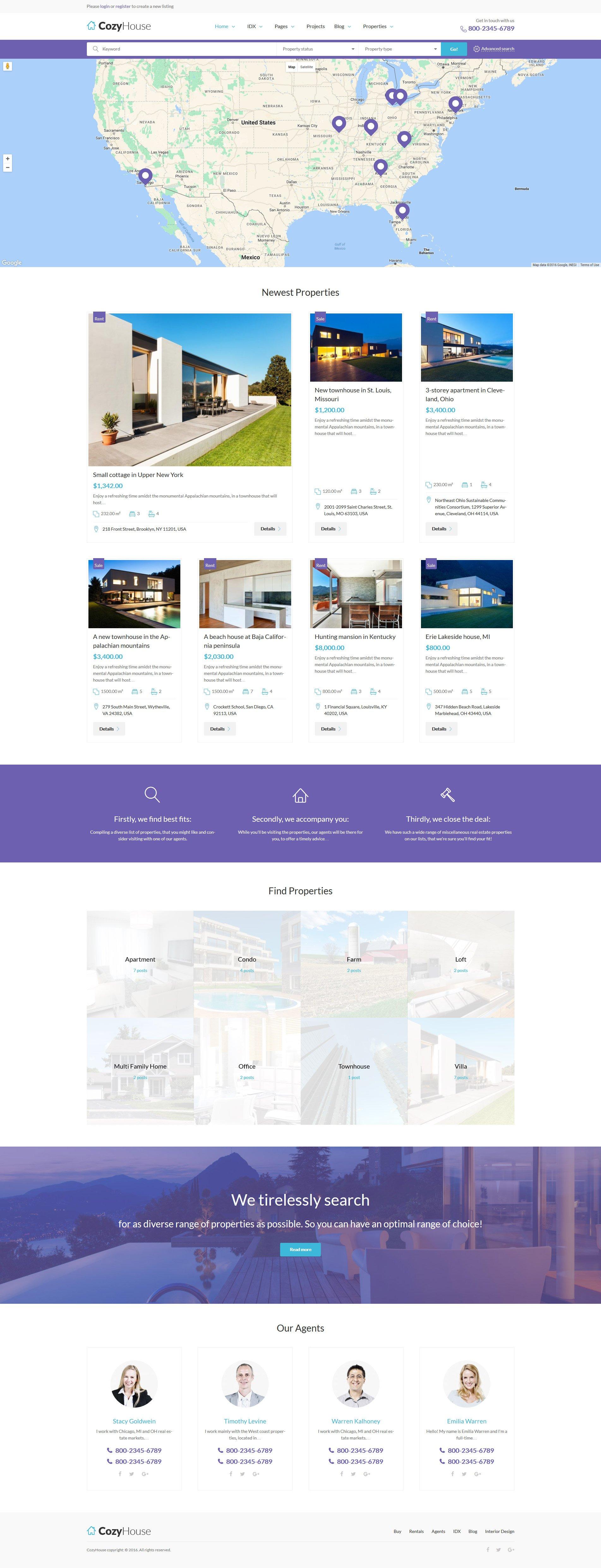 """CozyHouse - Real Estate Premium"" 响应式WordPress模板 #61222 - 截图"
