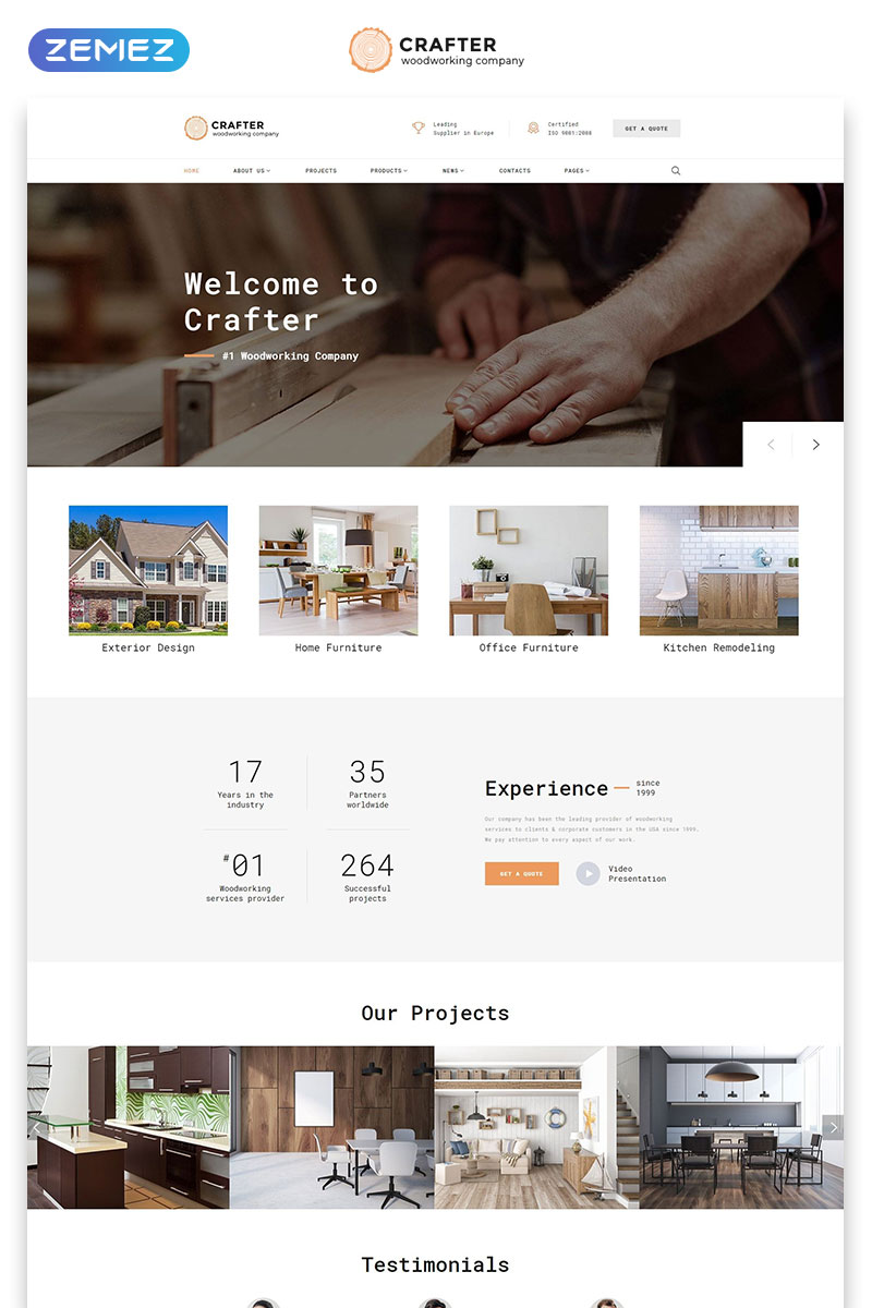 """Crafter - Interior Multipage Classic HTML Bootstrap"" Responsive Website template №61235"