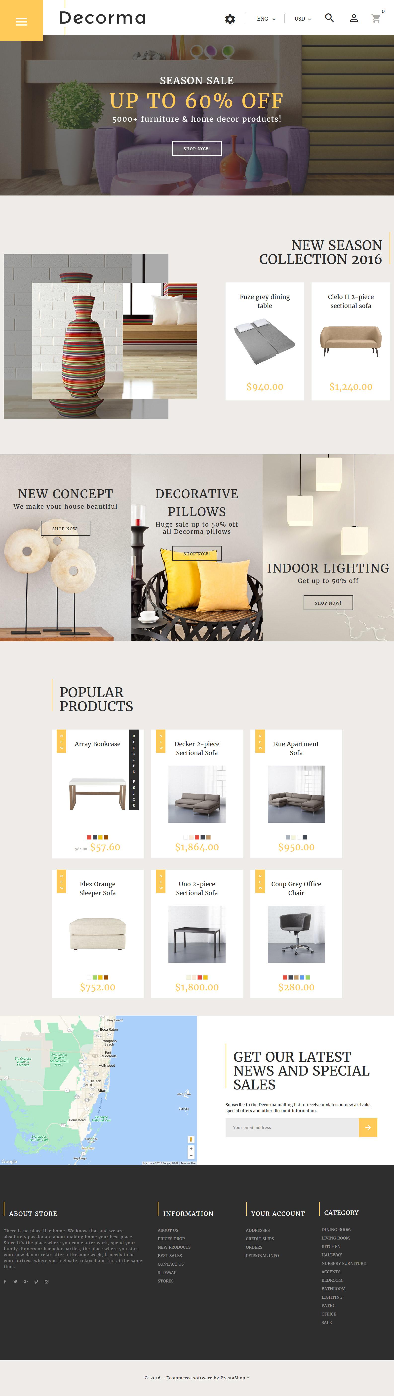 """Decorma - Furniture Responsive"" - адаптивний PrestaShop шаблон №61231 - скріншот"